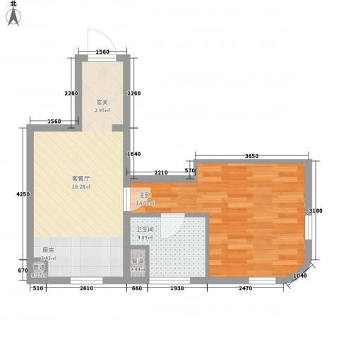 云顶国际公馆1室1厅1卫0厨50.00㎡户型图