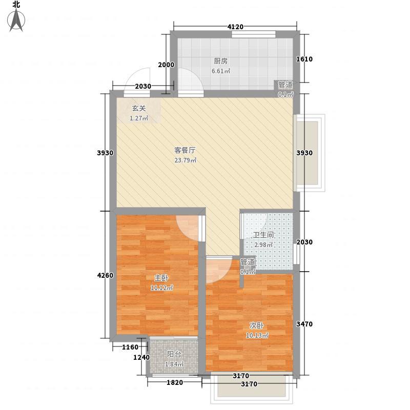 第一国际新区81.00㎡E户型2室2厅1卫1厨