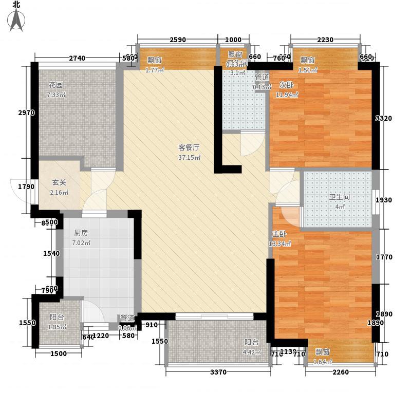 远大城市广场11.00㎡12栋02户型3室2厅2卫1厨