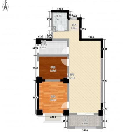 海唐南寒圣都2室1厅1卫1厨64.15㎡户型图