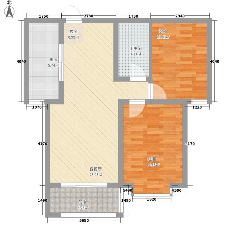 国色天香85.78㎡标准层四户型2室2厅1卫1厨