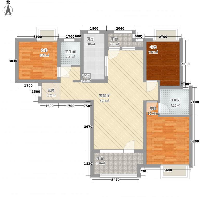 福星惠誉东湖城113.00㎡二期2号楼C-3户型3室2厅2卫1厨