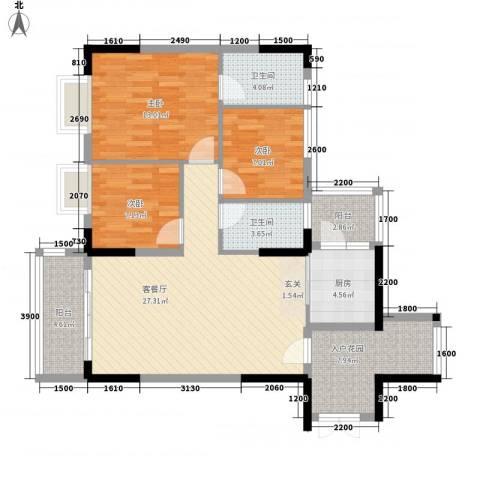 景致尚寓3室1厅2卫1厨118.00㎡户型图