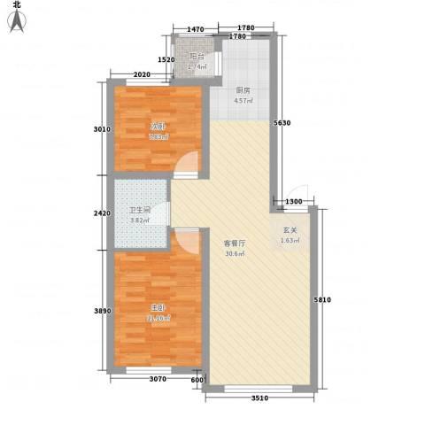 滨才城2室1厅1卫0厨55.14㎡户型图