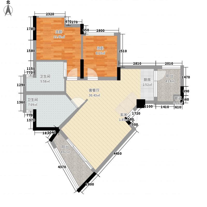 冠泰水晶城3.80㎡二期K1户型2室2厅2卫1厨