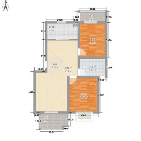 康泰苑2室1厅1卫1厨96.00㎡户型图