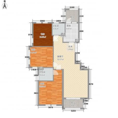 宝诚星海湾3室1厅2卫1厨128.00㎡户型图