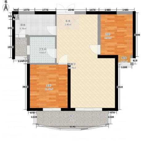 世纪城龙祥苑2室1厅1卫1厨70.37㎡户型图