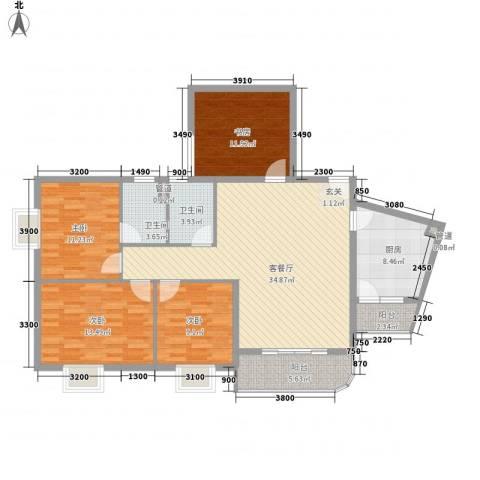 南栅电信宿舍4室1厅2卫1厨147.00㎡户型图