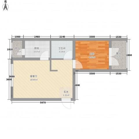 滨才城1室1厅1卫1厨38.39㎡户型图