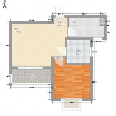 绿地21城D区公寓1室1厅1卫1厨59.00㎡户型图