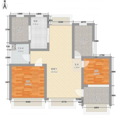 绿地21城D区公寓2室1厅1卫1厨88.00㎡户型图
