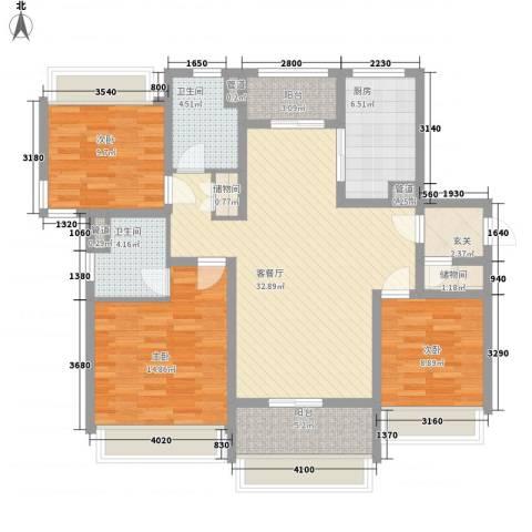 绿地21城D区公寓3室1厅2卫1厨139.00㎡户型图