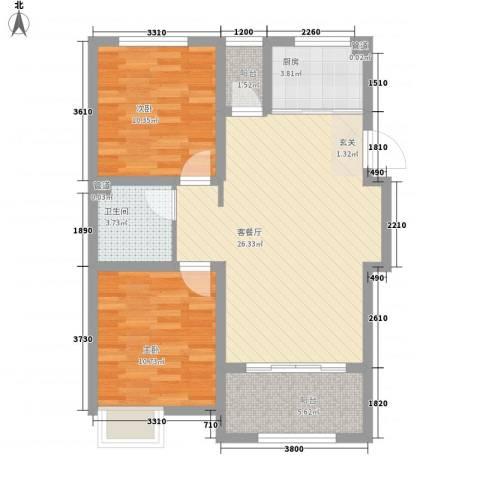 天力城2室1厅1卫1厨71.83㎡户型图