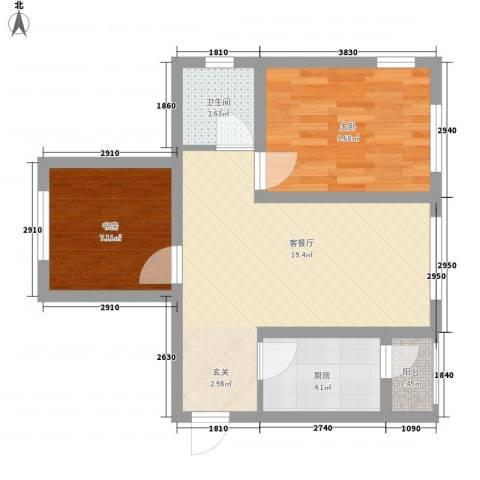 滨才城2室1厅1卫1厨45.00㎡户型图