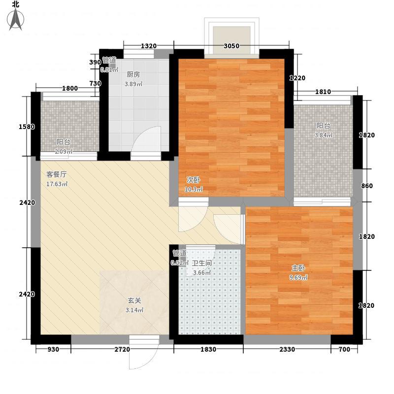 长安星园66.80㎡J户型2室2厅1卫1厨