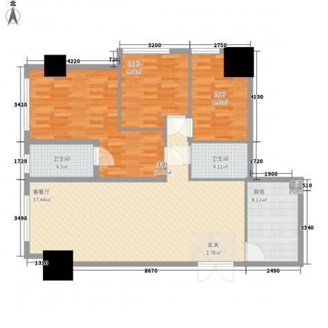 花明大厦3室1厅2卫1厨130.00㎡户型图