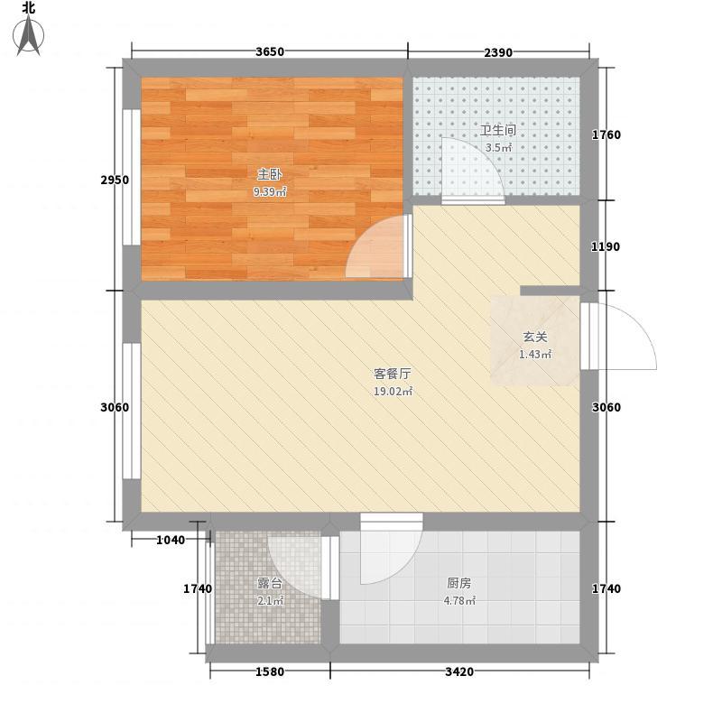 滨才城37.14㎡四期塞纳维拉C户型1室2厅1卫1厨