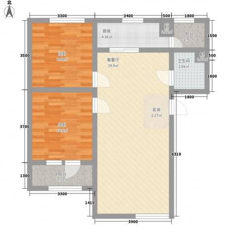 永华新城2室1厅1卫1厨91.00㎡户型图
