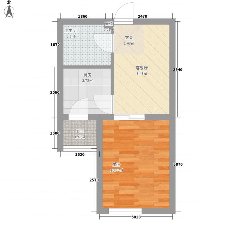 御河壹�1室1厅1卫1厨27.04㎡户型图