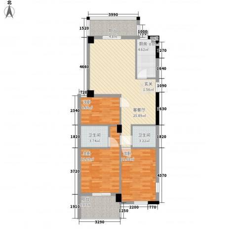 聚龙尚书院3室1厅2卫1厨115.00㎡户型图