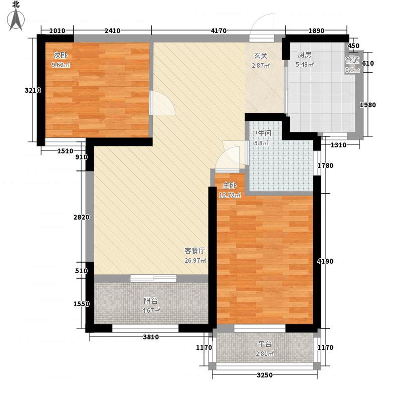 翰林紫园1.40㎡1号楼B户型2室2厅1卫1厨