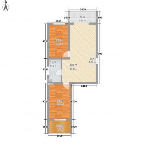 浑河国际城2室1厅1卫0厨92.00㎡户型图