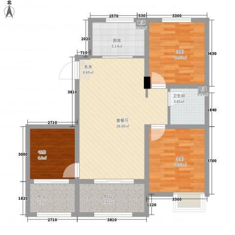 天力城3室1厅1卫1厨83.68㎡户型图