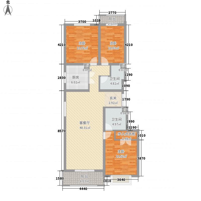 龙城天悦13.58㎡户型3室2厅2卫1厨