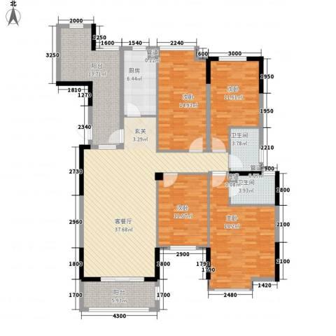 曲江城市花园4室1厅2卫1厨147.00㎡户型图