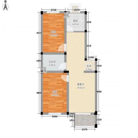 望海家园2室1厅1卫1厨88.00㎡户型图