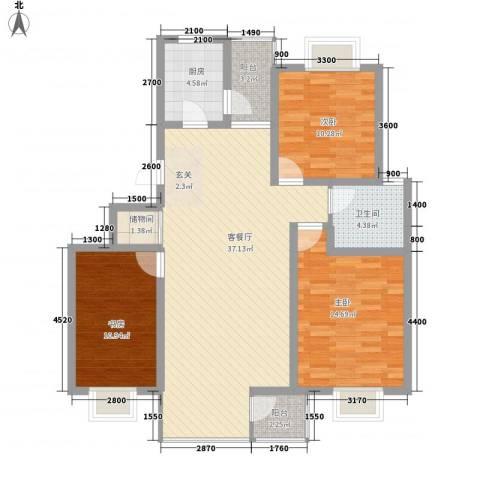 顺驰滨江奥城3室1厅1卫1厨106.00㎡户型图