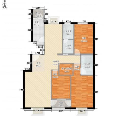 紫金新干线3室1厅2卫1厨135.00㎡户型图