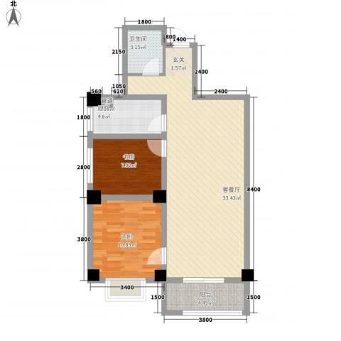 海唐南寒圣都2室1厅1卫1厨64.56㎡户型图