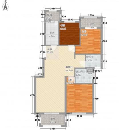 宝诚星海湾3室1厅2卫1厨121.00㎡户型图