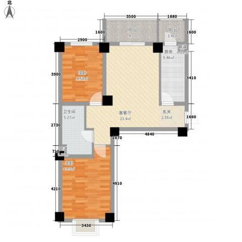 海唐南寒圣都2室1厅1卫1厨64.29㎡户型图