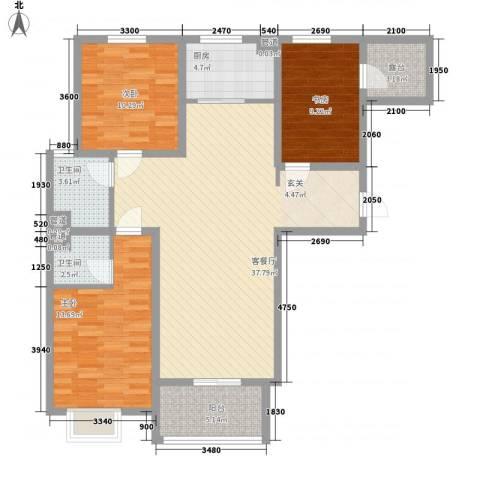 凌透花园二期3室1厅2卫1厨130.00㎡户型图
