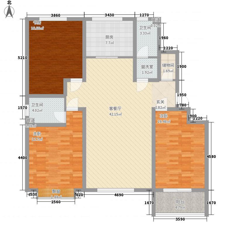 九州方圆国际165.00㎡5号楼H户型3室2厅2卫1厨