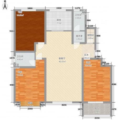 九州方圆国际3室1厅2卫1厨165.00㎡户型图
