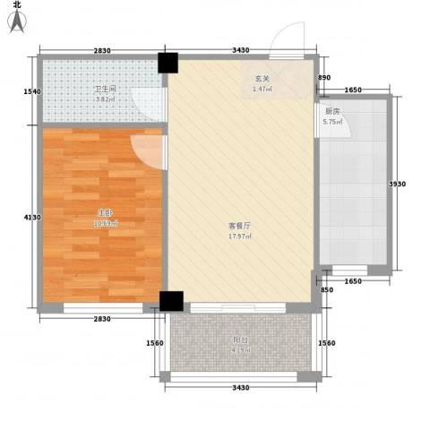 湾德里华府1室1厅1卫1厨47.33㎡户型图