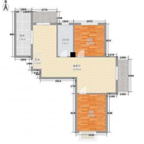 湾德里华府2室1厅1卫1厨89.72㎡户型图