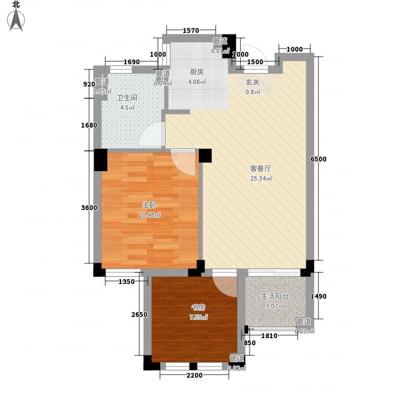 三盛国际公园香樟里56.00㎡A户型2室2厅1卫1厨