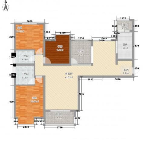八一小区3室1厅2卫1厨125.00㎡户型图