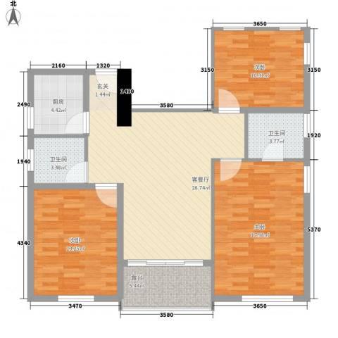 丽晶大厦3室1厅2卫1厨120.00㎡户型图