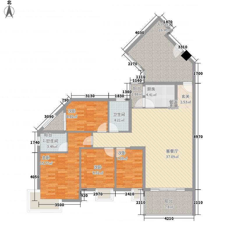 美地花园城D1户型4室2厅2卫1厨