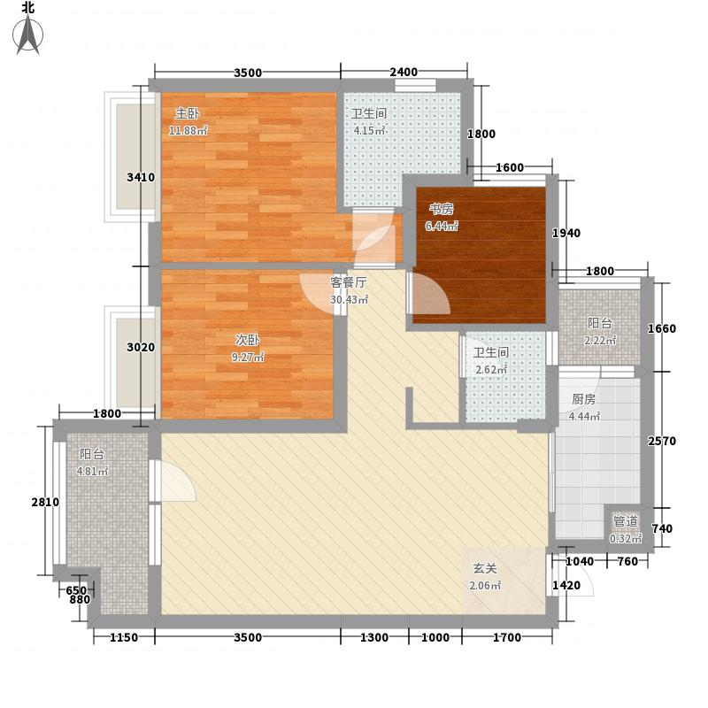 福星惠誉东湖城16.00㎡二期1、2、7号楼C-2B户型3室2厅2卫1厨