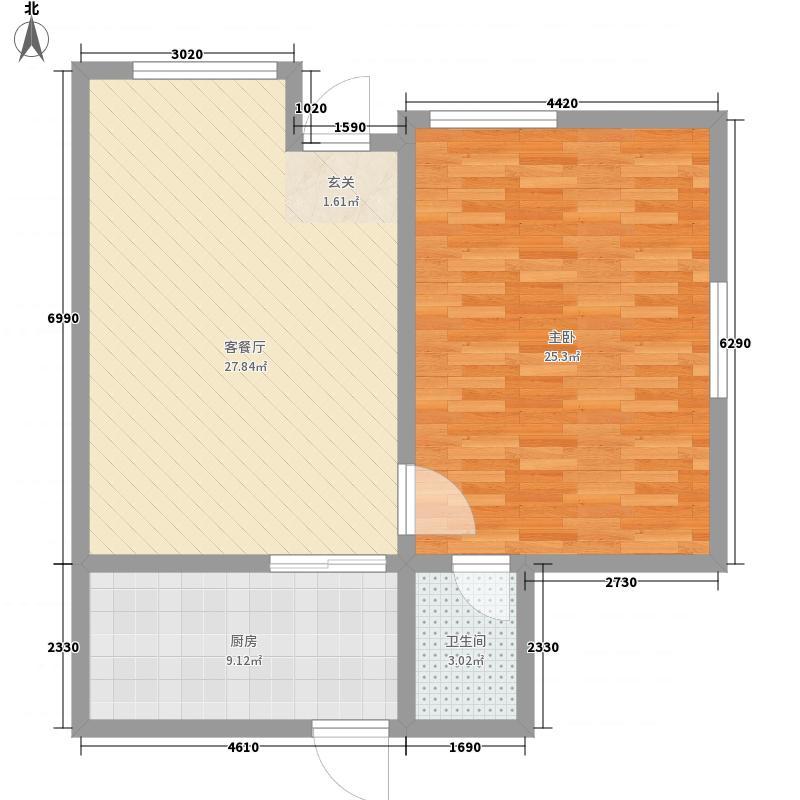 金石湾73.40㎡酒店1号一层户型1室1厅1卫