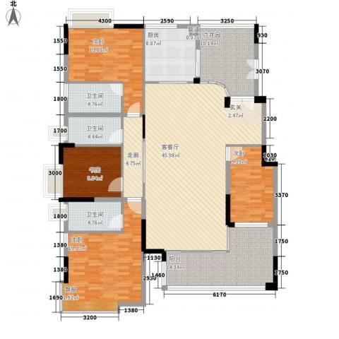 省委宣传部宿舍4室1厅3卫1厨207.00㎡户型图