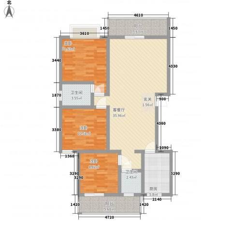 江南名苑3室1厅2卫1厨130.00㎡户型图