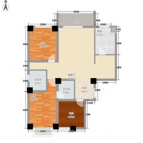 海唐南寒圣都3室1厅2卫1厨89.54㎡户型图